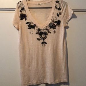 Cotton JCrew T-shirt . Jewels sewn on front .